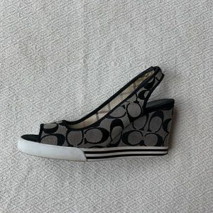 Coach Canvas Black and Grey Wedges Size 7.5